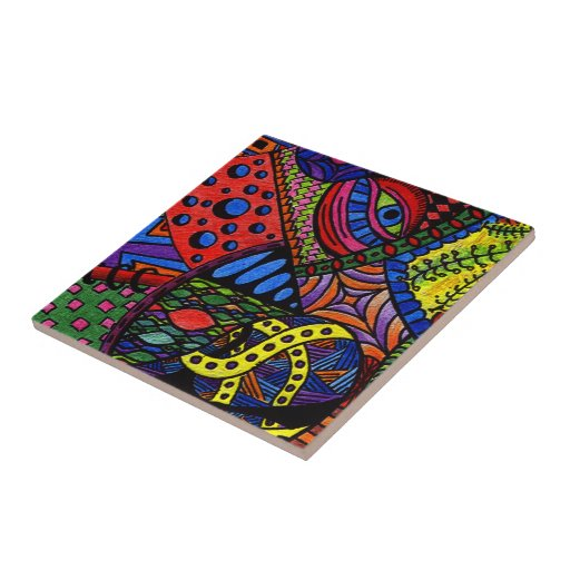 Chaos Eye - colorful doodle painting Tile