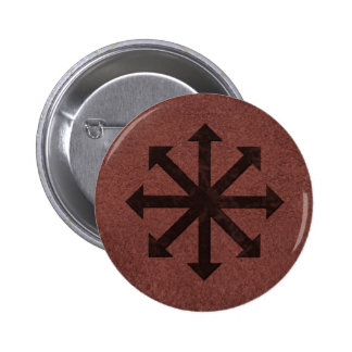 Chaosphere - Occult Magick Symbol on Red Leather 6 Cm Round Badge