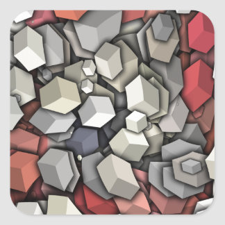 Chaotic 3D Cubes Square Sticker
