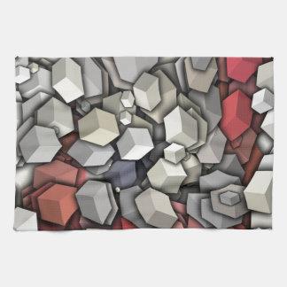 Chaotic 3D Cubes Tea Towel