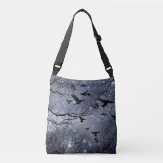 Chaotic Celestial Crow Flight Crossbody Bag