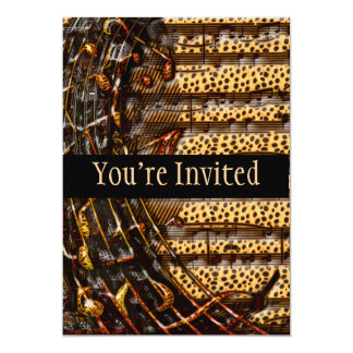 """Chaotic Whirl Of Tiger & Cheetah Music Notes 5"""" X 7"""" Invitation Card"""