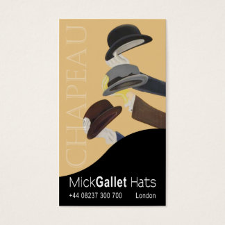 """Chapeau"" Milliner, Hat Designer, Haberdasher Business Card"