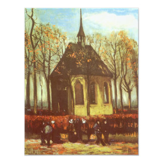 Chapel at Nuenen, Churchgoers by Vincent van Gogh 11 Cm X 14 Cm Invitation Card