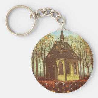 Chapel at Nuenen, Churchgoers by Vincent van Gogh Basic Round Button Key Ring