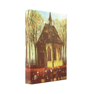 Chapel at Nuenen, Churchgoers by Vincent van Gogh Canvas Print