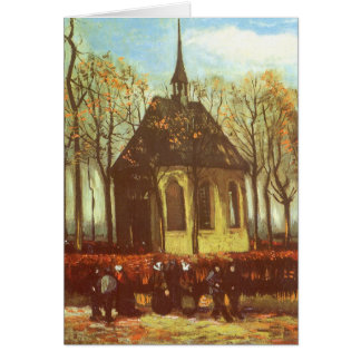 Chapel at Nuenen, Churchgoers by Vincent van Gogh Card