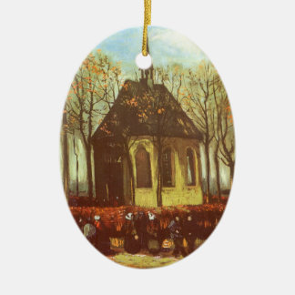 Chapel at Nuenen, Churchgoers by Vincent van Gogh Ceramic Oval Decoration