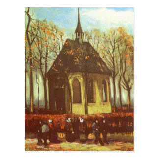 Chapel at Nuenen, Churchgoers by Vincent van Gogh Postcard