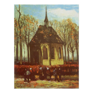 Chapel at Nuenen, Churchgoers by Vincent van Gogh Poster