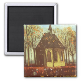 Chapel at Nuenen, Churchgoers by Vincent van Gogh Square Magnet