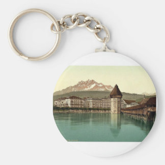 Chapel Bridge and view of Pilatus, Lucerne, Switze Basic Round Button Key Ring