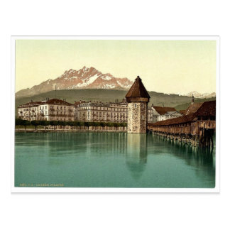 Chapel Bridge and view of Pilatus, Lucerne, Switze Postcard