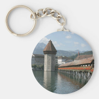 Chapel Bridge, Lucerne, Switzerland Basic Round Button Key Ring