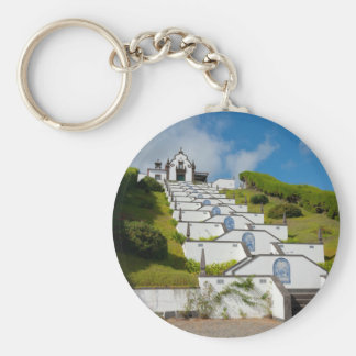 Chapel in Azores islands Basic Round Button Key Ring