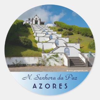 Chapel in Azores islands Classic Round Sticker