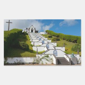 Chapel in Azores islands Rectangular Sticker