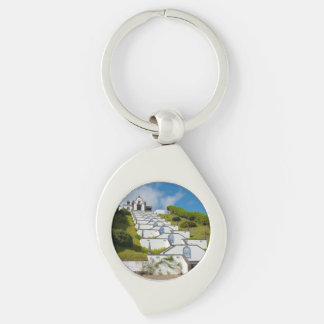Chapel in Azores islands Silver-Colored Swirl Key Ring