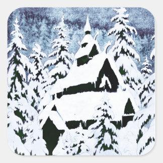 Chapel in the Snow Square Sticker