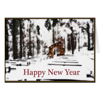 Chapel of the Woods in a Snowy Glow Happy New Year Card