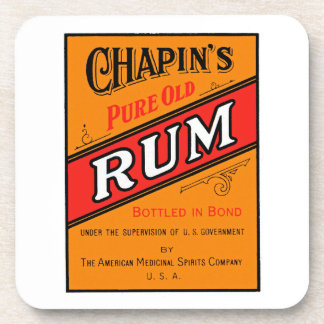 Chapins Pure Old Rum Label Beverage Coasters