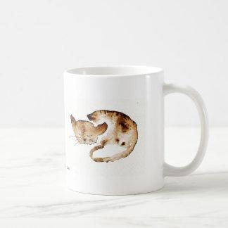 Chaquarelle sleeping sepia basic white mug