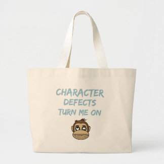 Character Defects Recovery Sober Drunk Large Tote Bag