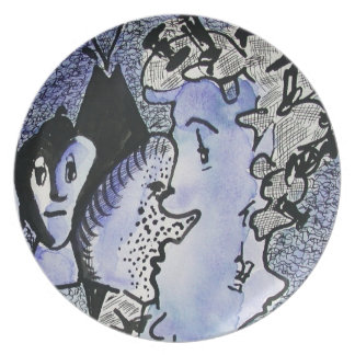 Characters in Blue Artsy Plate Ginette