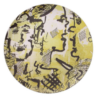 Characters in Yellow Modern Art Plate Ginette