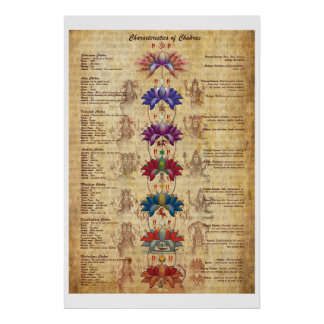 Characterstics of Chakras Yoga Art Print