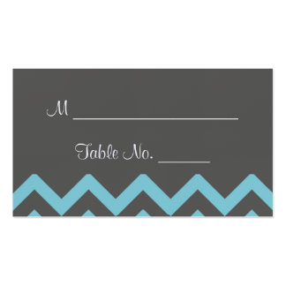 Charcoal and Aqua Chevron Posh Wedding Place Cards Business Cards