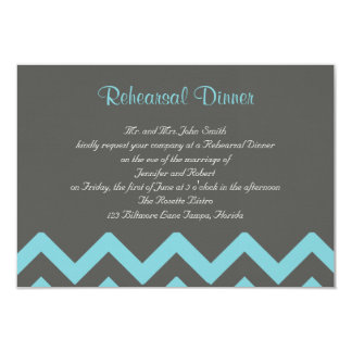 Charcoal and Aqua Chevron Posh Wedding Rehearsal Card