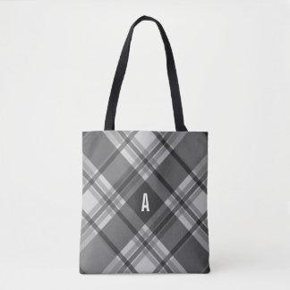Charcoal and Gray Plaid Monogram Tote Bag