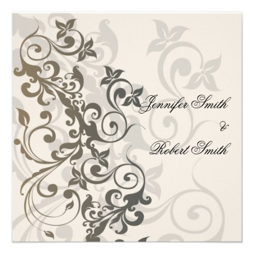 Charcoal and Ivory Filigree Wedding Announcements
