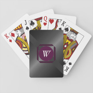 Charcoal and maroon monogrammed playing cards
