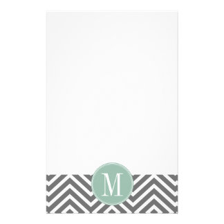 Charcoal and Mint Green Chevrons Custom Monogram Personalized Stationery
