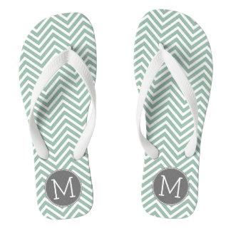 Charcoal and Mint Green Chevrons Custom Monogram Thongs