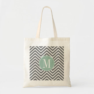 Charcoal and Mint Green Chevrons Custom Monogram Tote Bag