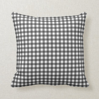 Charcoal and White Gingham Throw Pillow