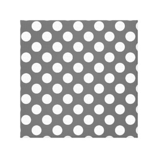 Charcoal and White Polka Dots Gallery Wrapped Canvas