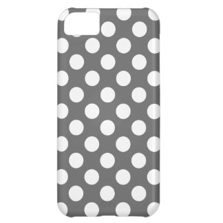 Charcoal and White Polka Dots iPhone 5C Case