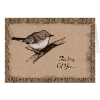 Charcoal Art: Small Bird: Bark: Thinking Of You Card