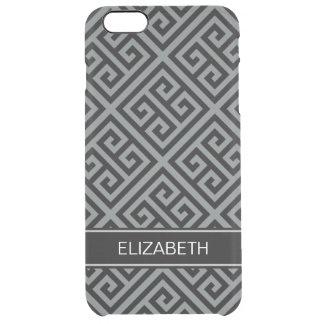 Charcoal Bk Med Greek Key Diag T Blk Name Monogram Clear iPhone 6 Plus Case