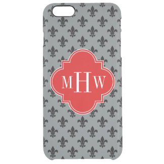 Charcoal Black Fleur de Lis Red 3 Init Monogram Clear iPhone 6 Plus Case