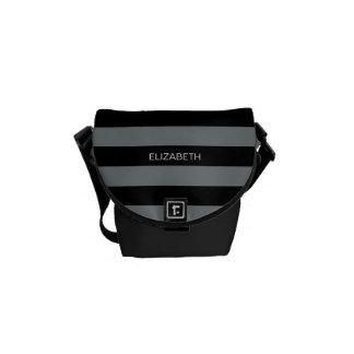Charcoal Black Horiz Preppy Stripe #3 Monogram Courier Bags