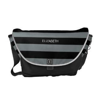 Charcoal Black Horiz Preppy Stripe #3 Monogram Messenger Bags