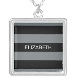 Charcoal Black Horiz Preppy Stripe #3 Monogram Square Pendant Necklace