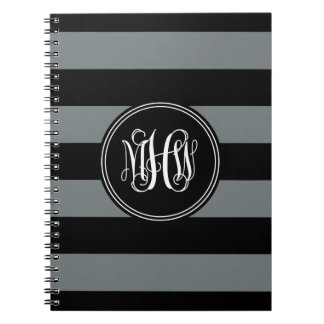 Charcoal Blk Horiz Stripe #3 Black Vine Monogram Spiral Notebooks