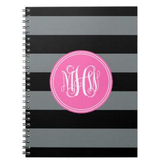 Charcoal Blk Horiz Stripe #3 HotPink Vine Monogram Spiral Notebooks