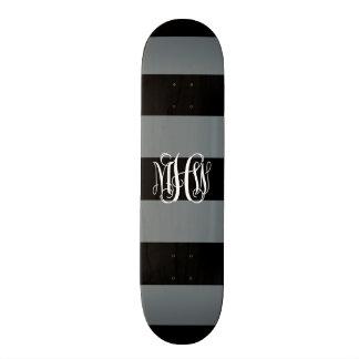 Charcoal Blk Horiz Stripe #3 Vine Monogram Skate Deck